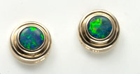 14k gold opal stud earrings #OAGE8