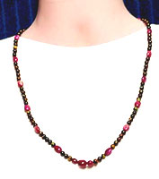 Solid natural boulder opal matrix and ruby bead necklace #SBN16