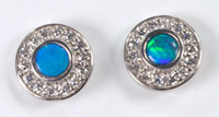Sterling silver stud earrings with a solid boulder opal #JGE10