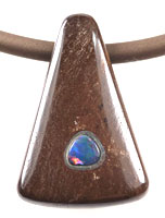 Solid boulder stone pendant with a solid opal stone inlay