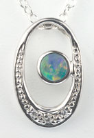 Sterling silver opal stone pendant