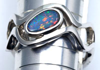 Sterling silver ring with an opal doublet #OASR11
