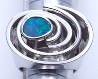 Sterling silver ring with a solid boulder opal #OASR12