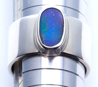 Sterling silver ring with a solid boulder opal #TSR5